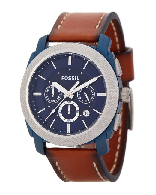 Fossil | Multicolor Men's Machine Chronograph Leather Strap Watch for Men | Lyst