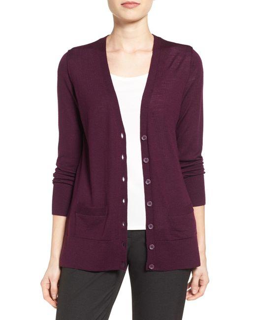 Halogen | Purple Lightweight Merino Wool V-neck Cardigan | Lyst