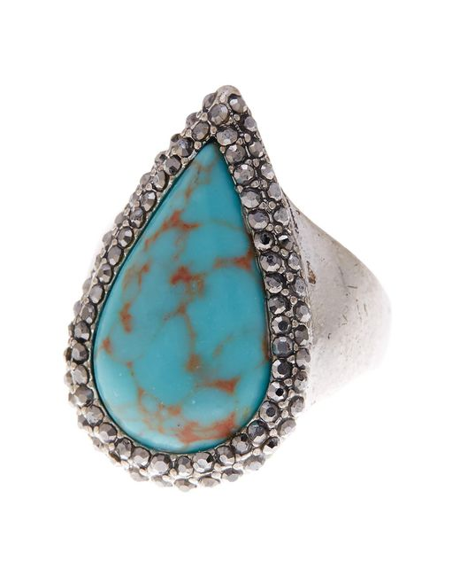 Lucky Brand | Multicolor Turquoise Teardrop Pave Ring - Size 7 | Lyst