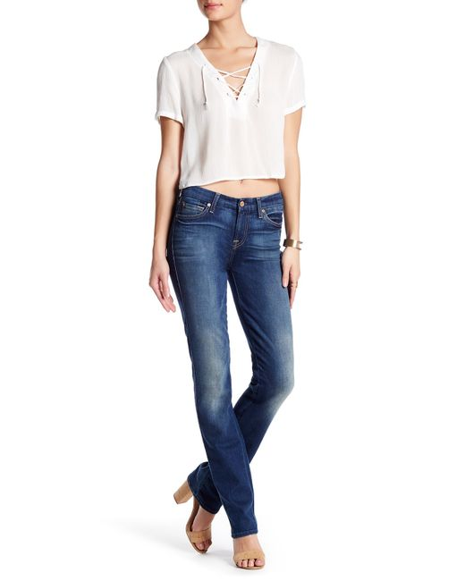 7 For All Mankind | Blue Karah Straight Leg Jean | Lyst