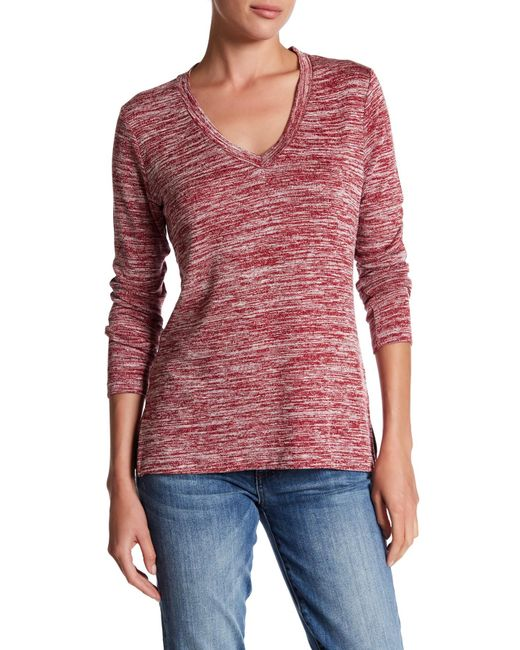 Kut From The Kloth | Red V-neck Faux Leather Elbow Patch Slub Sweater | Lyst