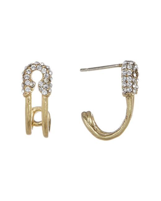 Marc Jacobs | Metallic Strass Safety Pin Hoop Earrings | Lyst