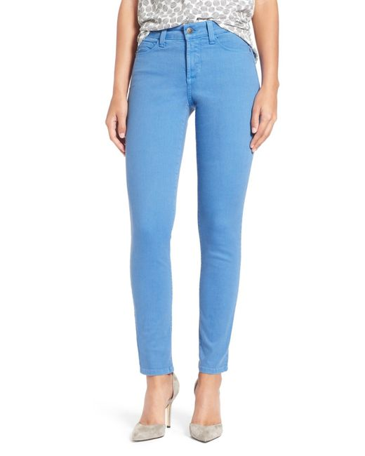 NYDJ | Blue 'clarissa' Colored Stretch Ankle Skinny Jeans | Lyst