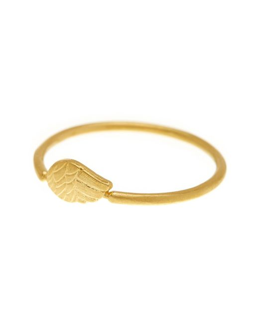 Dogeared   Metallic 14k Gold Plated Sterling Silver Single Angel Ring - Size 8   Lyst