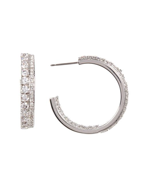 Nadri | Multicolor Double Row Crystal Pave In & Out Hoop Earrings | Lyst