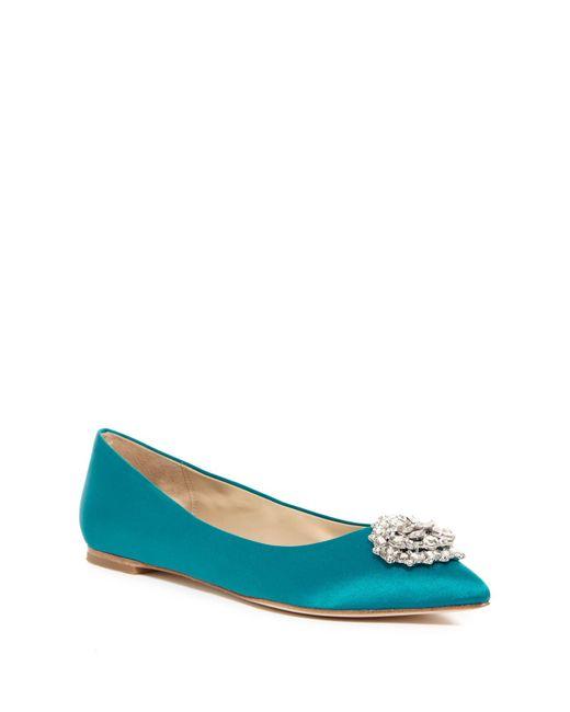 Badgley Mischka | Blue Davis Crystal Embellished Pointed Toe Flat | Lyst