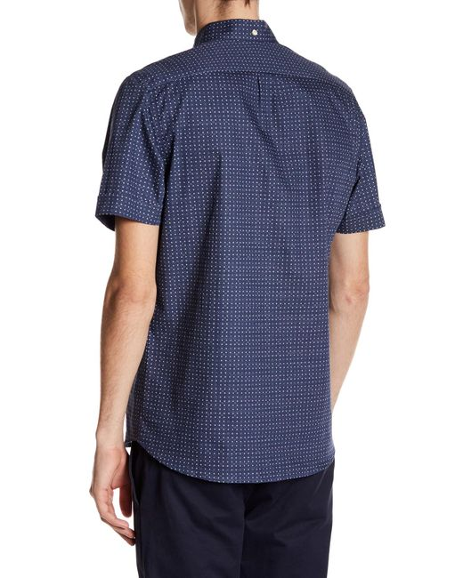Kennington Polka Dot Short Sleeve Woven Shirt in Blue for ...