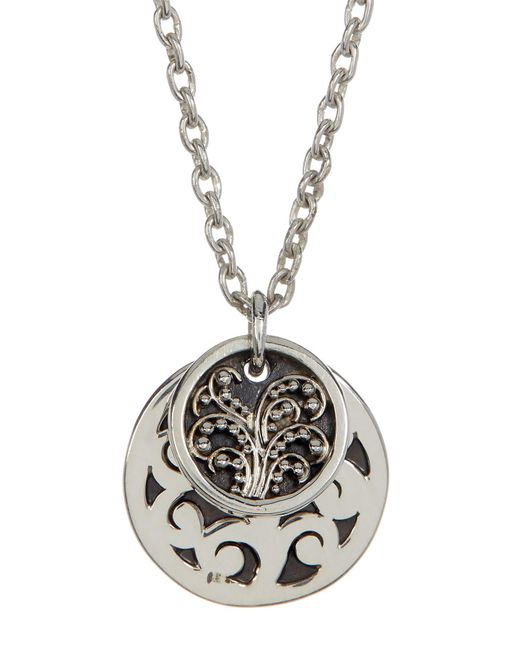 Lois Hill | Metallic Sterling Silver Medium Hand Carved Double Round Disc Pendant Necklace | Lyst