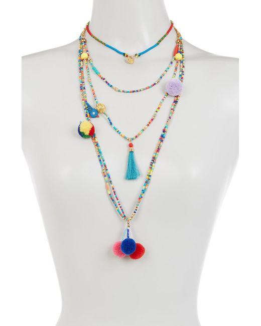 Cara | Blue Multi Layer Seed Bead, Pompom, Tassel, & Bird Necklace | Lyst