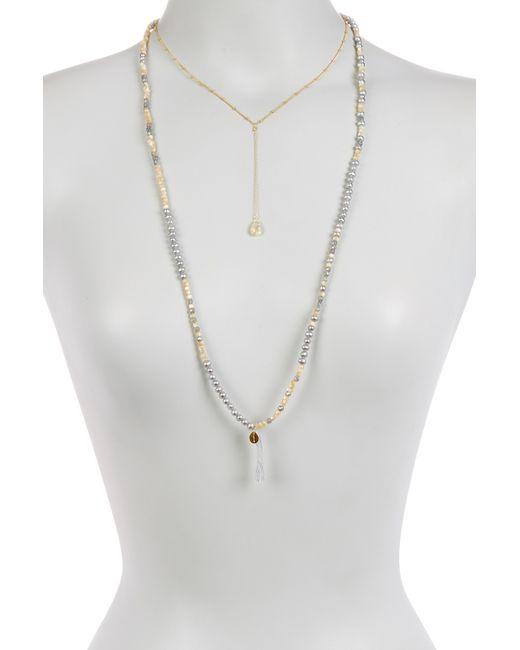 Chan Luu | Multicolor Citrine, 4mm Grey Pearl, Mother Of Pearl, Mystic Labradorite & Bead Necklace | Lyst