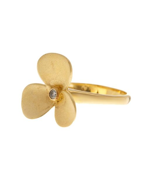 Adornia | Delia Flower Ring Yellow Gold Plated Silver With Swarovski Crystal | Lyst