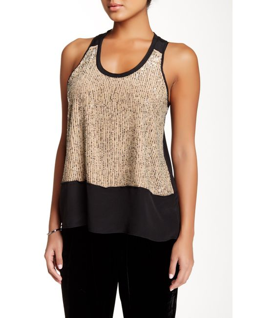 Eileen Fisher Silk Sequin Tank Petite In Black Roswt