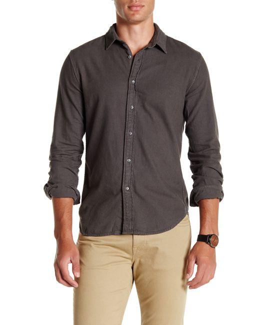 Save khaki long sleeve clean flannel shirt in gray for men for How to wash flannel shirts