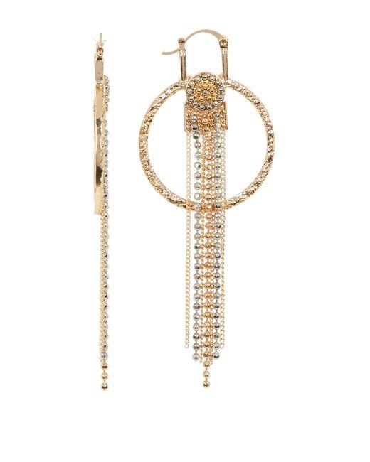 Steve Madden | Metallic Bead Detail Fringe Drop Textured Circle Earrings | Lyst