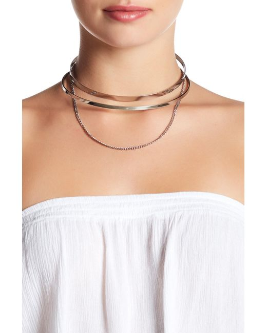 Steve Madden | Multicolor Cutout Collar Chain Drop Choker | Lyst