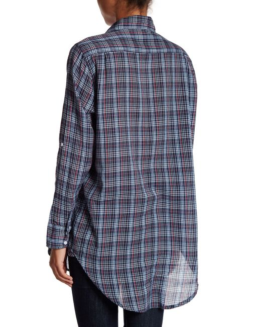 Michael stars tartan oversized shirt in blue lyst for Michael stars t shirts on sale