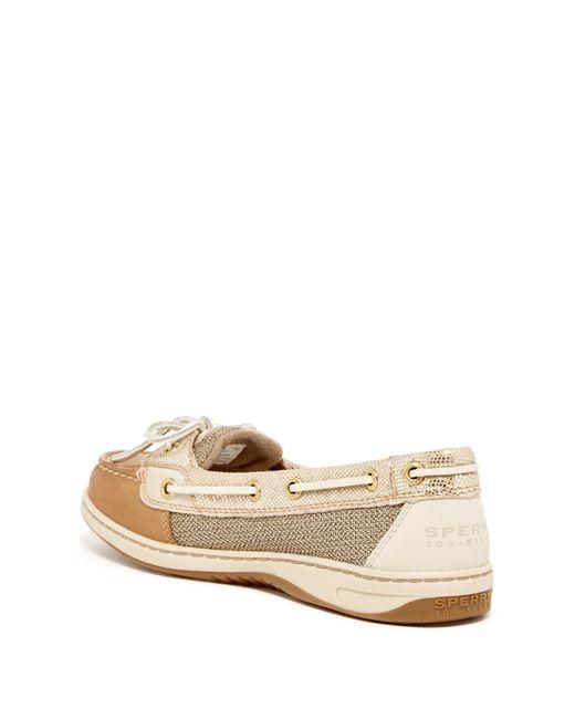 sperry top sider angelfish boat shoe in metallic linen