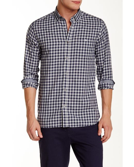 Ted Baker | Blue 'thorshor' Modern Slim Fit Print Short Sleeve Sport Shirt for Men | Lyst