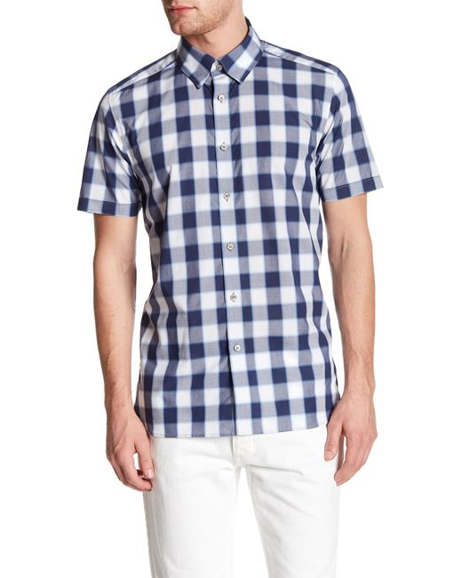 Ted Baker | Blue Gingham Trim Fit Shirt for Men | Lyst