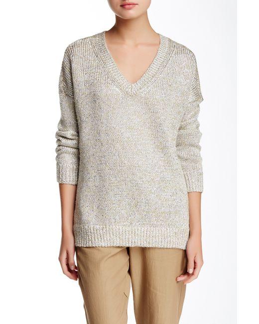 VINCE   Black Cropped Metallic Knit Sweater   Lyst