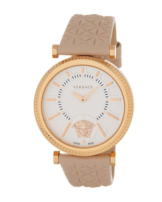 Versace | White Women's Helix Leather Strap Watch | Lyst