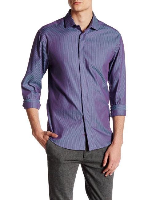 Vince Camuto   Blue Contemporary Fit Stripe Sport Shirt for Men   Lyst