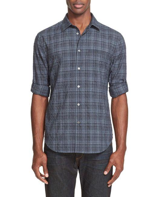 John Varvatos   Blue Long Sleeve Slim Fit Plaid Shirt for Men   Lyst