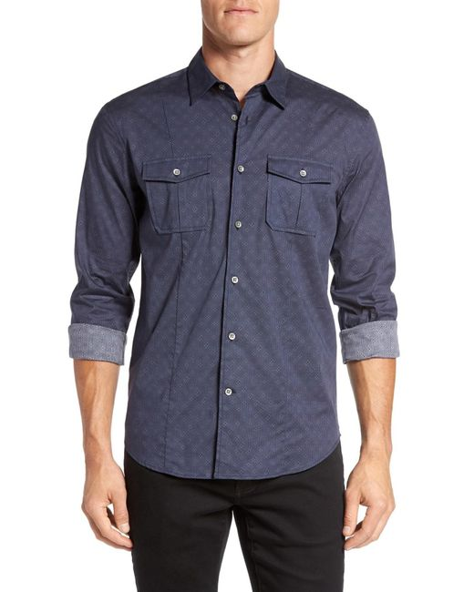 John Varvatos | Blue Trim Fit Sport Shirt for Men | Lyst