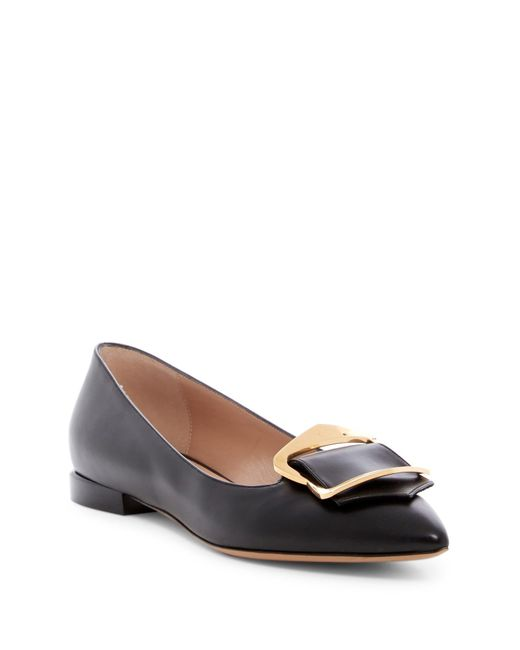Emporio Armani | Black Pointed Toe Buckle Flat | Lyst