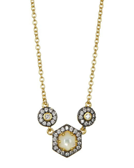 Freida Rothman | Metallic Vintage Deco Mother Of Pearl & Cz Necklace | Lyst