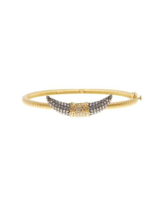 Freida Rothman | Metallic 14k Gold Plated Sterling Silver Cz Pave Horn Bangle | Lyst