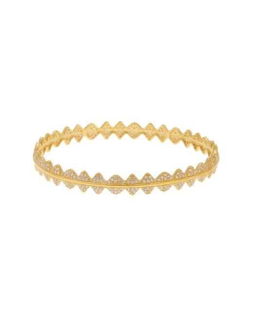 Freida Rothman | Metallic 14k Gold Plated Sterling Silver Cz Pave Crown Bangle Bracelet | Lyst