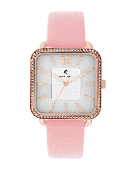 Nanette Nanette Lepore - Pink Women's Crystal Accented Square Faux Leather Strap Watch, 42mm - Lyst