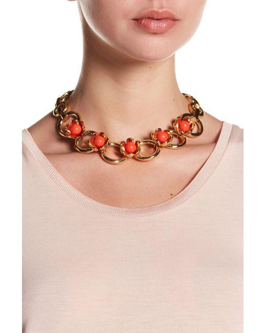 Trina Turk | Orange Resin Detail Flower Embellished Necklace | Lyst