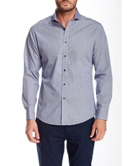 Vince Camuto | Blue Long Sleeve Dobby Gingham Slim Fit Shirt for Men | Lyst
