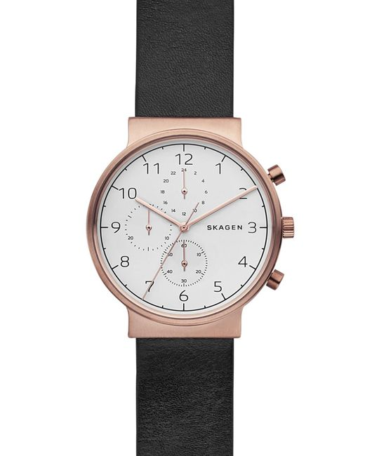 Skagen - Multicolor Men's Ancher Leather Strap Watch, 40mm for Men - Lyst