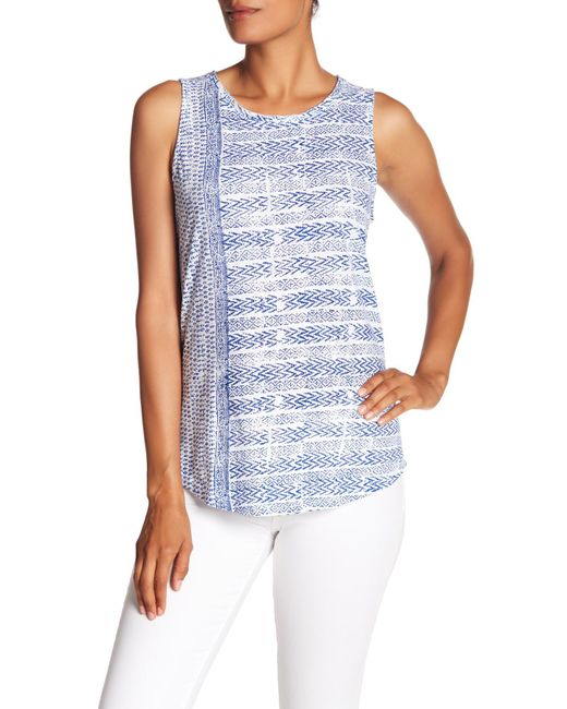 Lucky Brand - Blue Printed Tank Top - Lyst