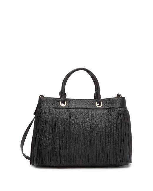 Milly Black Es Leather Fringe Tote Bag Lyst