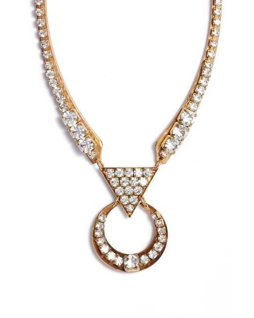 Sandy Hyun - Metallic Cutout Crystal Necklace - Lyst