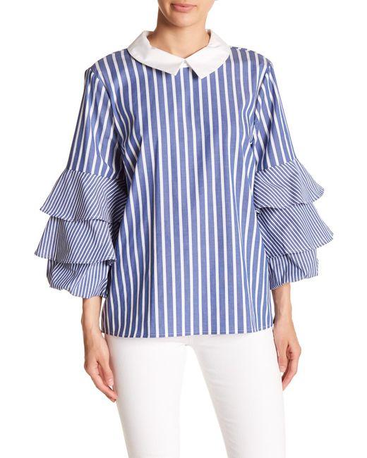 Cece by Cynthia Steffe - Blue Ruffle Sleeve Stripe Blouse - Lyst