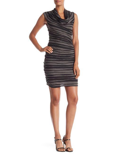 Max Studio - Black Sleeveless Two-toned Cowl Neck Dress - Lyst