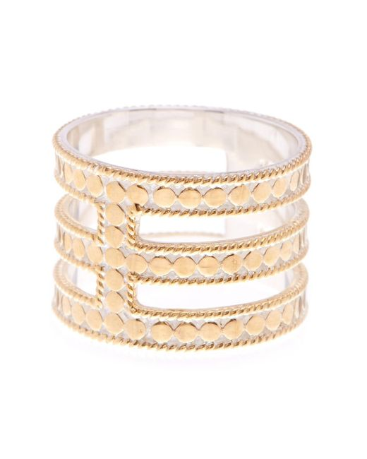 Anna Beck - Metallic 18k Gold Plated Sterling Silver Gili Wire Triple Bar Ring - Lyst