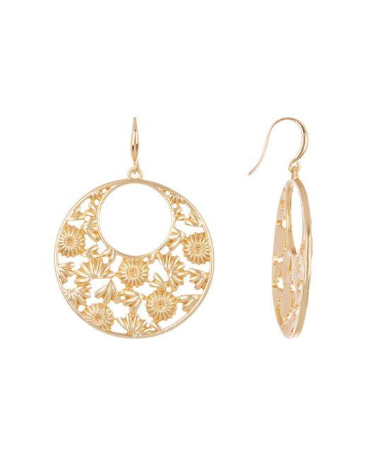 Trina Turk Metallic Cutout Flower Hoop Dangle Earrings Lyst