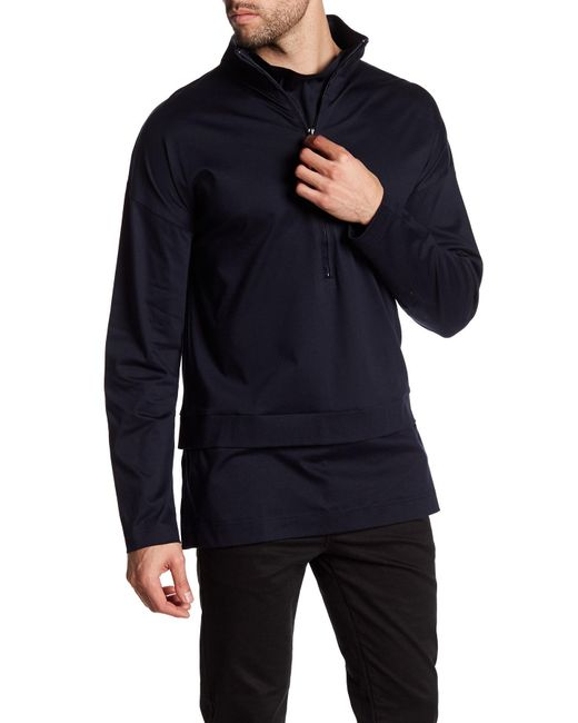 Quinn | Blue Funnel Neck Tunic for Men | Lyst