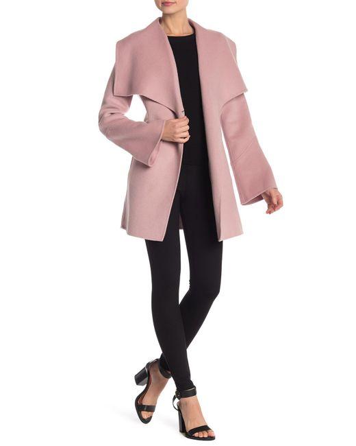 Laundry by Shelli Segal - Pink Shawl Collar Wool Blend Coat - Lyst