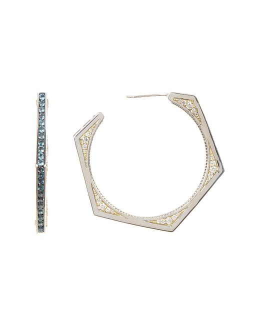 Stephen Dweck - Metallic 41mm Sterling Silver, 18k Yellow Gold, & London Blue Topaz Edge Hexagonal Hoop Earrings - Lyst