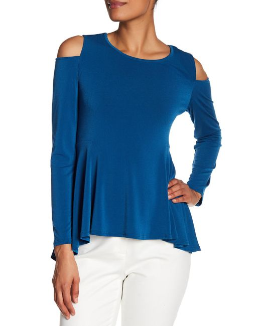 Cece by Cynthia Steffe - Blue Long Sleeve Cold Shoulder Tee - Lyst