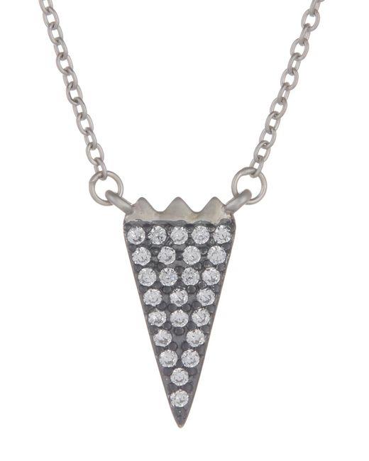 Freida Rothman - Metallic Rhodium Vermeil Cz Pave Arrow Necklace - Lyst