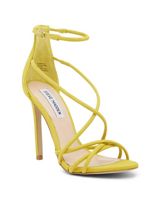 Steve Madden - Yellow Strapped Ankle Strap Sandal - Lyst