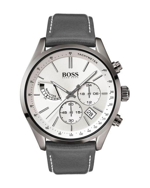 8cd0987ab BOSS - Gray Men's Grand Prix Leather Strap Watch, 44mm for Men - Lyst ...